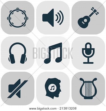 Includes Icons Such As Sound, Silence, Earphone And Other.  Audio Icons Set.