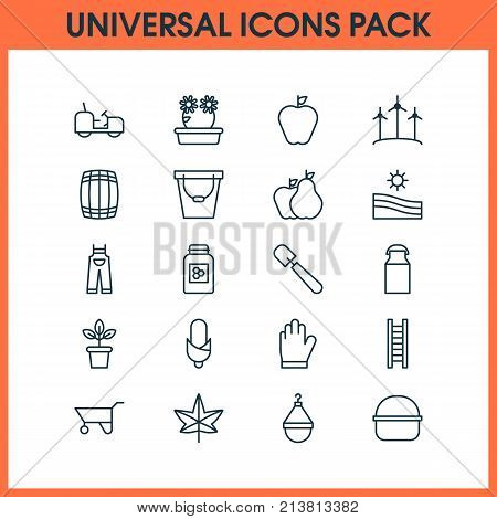 Includes Icons Such As Package, Maize, Agrimotor And Other.  Farm Icons Set.