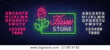 Flower store logo, neon sign. Flower shop. Vector illustration on the theme of selling flowers. Neon banner, vivid advertising of flowers, night sign. Editing text neon sign. Neon alphabet.