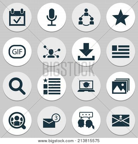 Includes Icons Such As Questionnaire, Video Chat, Gif Sticker And Other.  Media Icons Set.