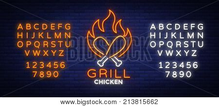 Logo Chicken Barbecue is a neon-style logo for a food store and a restaurant. Neon sign, night bright advertising chicken grill. Vector illustration. Editing text neon sign. Neon alphabet.