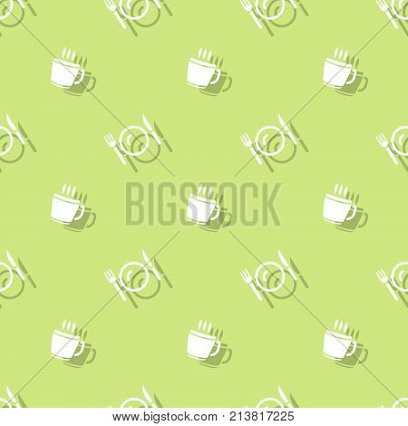 Meal Time Drink Cup And Cutlery Seamless Background