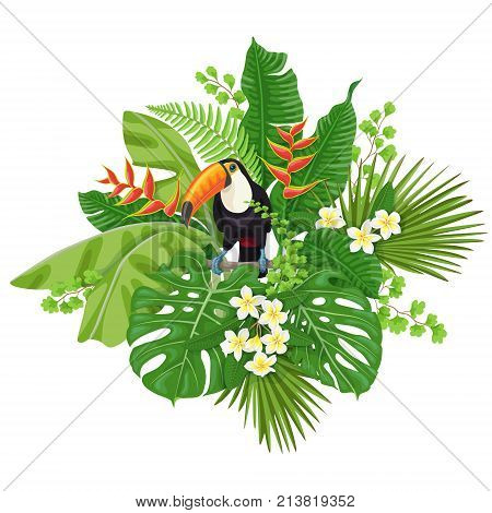 Colorful floral bunch with green leaves and flowers of tropical plants and bird isolated on white. Toucan sitting on liana branch. Vector flat illustration.
