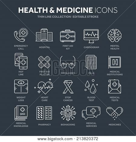 Health care, medicine. First aid. Medical blood tests and diagnostic. Heart cardiogram. Pills and drugs.Thin line web icon set. Outline icons collection.Vector illustration.