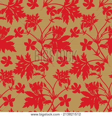 Decoration with flower geranium. Seamless floral pattern. Red silhouettes of foliage and flowers on gold foil background. Vintage vector illustration. Hand drawing. Template for textile paper cloth
