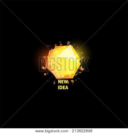 New idea logo, light bulb abstract vector icon. Isolated yellow polygons shape, stylized lamp with text. Digital innovation technology vector illustration