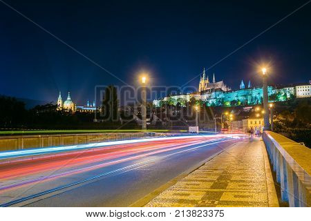 Prague, Czech Republic. Night View To Lesser Town From Manes Bridge. Upper Town - Castle, St. Vitus Cathedral.  UNESCO World Heritage Site. Popular Touristic Place, Town