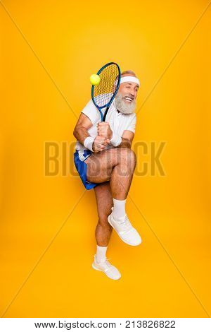 Body Care, Hobby, Weight Loss, Game Process. Competetive Emotional Cool Grandpa With Humor Grimace E