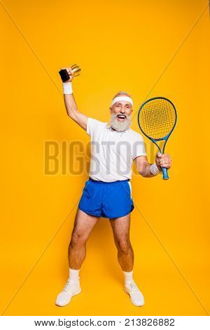 Wow! Competetive Best Cool Healthy Modern Successful Active Grandpa With Big Tennis Equipment And Re