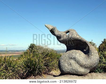 Atherton, Queensland, Australia-August 24, 2017:  Aboriginal sculpture located in the Halloran Hill Conservation Park in the Atherton Tablelands in Queensland, Australia