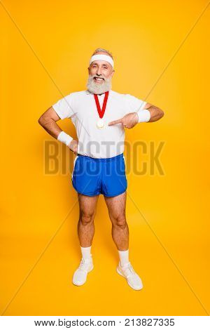 Full Length Of Active Cool Funny Competitive Grandpa Showing Off His Reward. Body, Health, Care, Lif