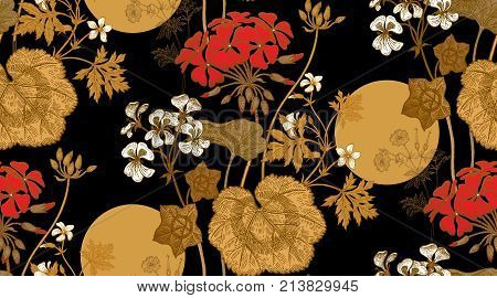 Seamless floral pattern. Gold foliage red white geranium flower or pelargonium on black background. Vintage vector illustration. Hand drawing. Template for packaging textiles paper fabrics