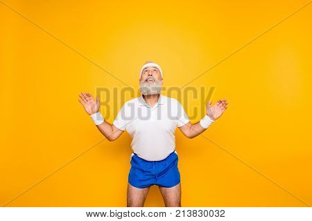Active Modern Cool Competetive Pensioner, Leader, Champion With Open Arms. Bodycare, Healthcare, Wei