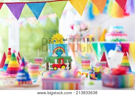 Boy Birthday. Cake For Little Child. Kids Party.
