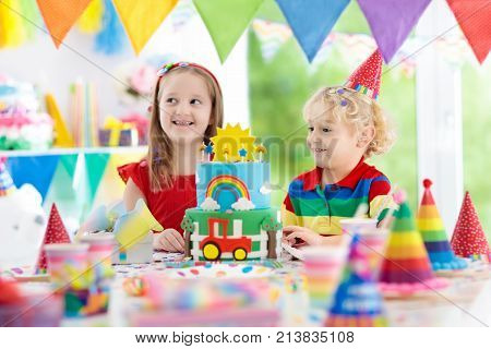 Kids Party. Birthday Cake With Candles For Child.