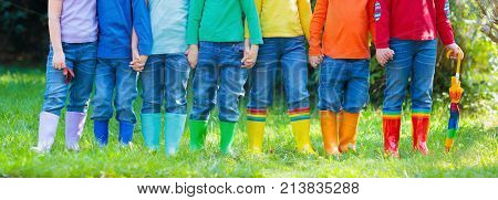 Kids In Rain Boots. Footwear For Children.