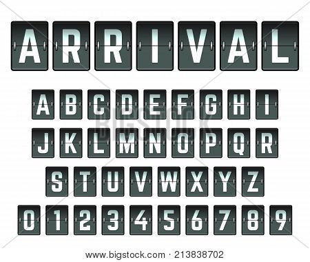 Alphabet font template. Set of letters and numbers arrival airport design. Vector illustration.