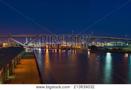 Port of Houston, TX. Bridge and chemical plant night view