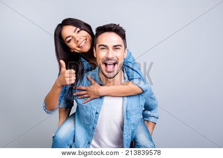 Excited Two People In Love Is Having Fun, They Adore Each Other. Pretty Joyful Lovely Smiling Woman