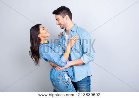 This Sweety Love Makes My Head Spin! Handsome Joyful Happy Man In Casual Clothes Is Hugging Her Girl