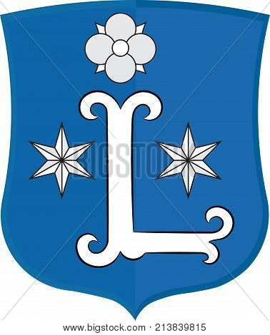 Coat of arms of Leer is a town in the district of Leer the northwestern part of Lower Saxony Germany. Vector illustration
