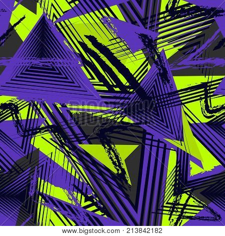 Abstract seamless geometric pattern, colorful sport style. Grunge urban art texture with chaotic lines, triangles, brush strokes. Bright purple green black colors. Creative background. Sport pattern. Urban pattern. Boys pattern. Geometric pattern.