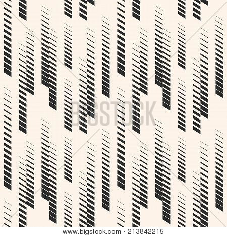 Abstract geometric seamless pattern with vertical halftone lines, tracks, stripes. Extreme sport style illustration, hipster fashion design, urban art. Monochrome graphic texture. Sports pattern. Urban pattern. Stripes pattern. Design pattern.