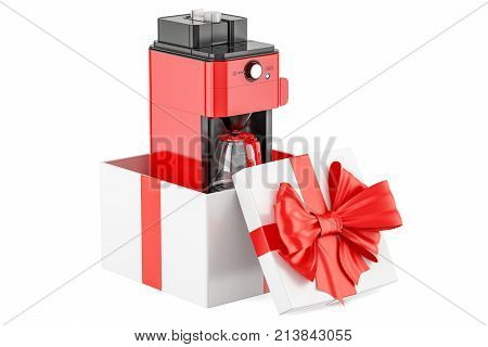 Coffeemaker or coffee machine oven inside gift box gift concept. 3D rendering isolated on white background