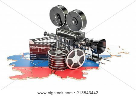 Slovenian cinematography film industry concept. 3D rendering isolated on white background
