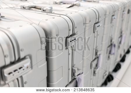 Security Pad Lock Of Silver Metal Luggage In The Luggage Row.