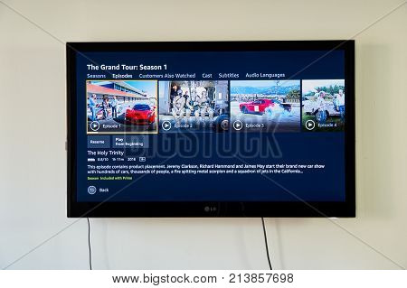 MONTREAL CANADA - NOVEMBER 15 2017: The Grand Tour on LG TV. The Grand Tour is a British motoring television series for Amazon Video presented by Jeremy Clarkson Richard Hammond and James May