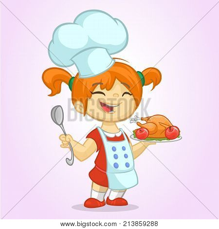 Cartoon cute little blond girl in apron and chef's hat serving roasted thanksgiving turkey dish holding a tray and spoon. Vector illustration isolated. Thanksgiving design
