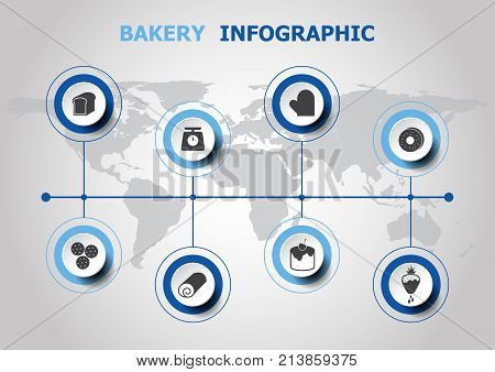 Infographic design with bakery icons, stock vector