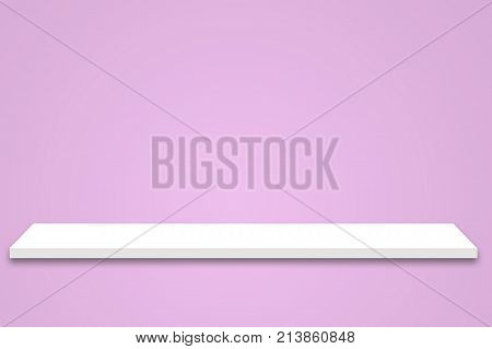 empty white shop shelf with shadow retail shelf on pink vintage wall room background. white shelf isolated on pink background. shelf mockup