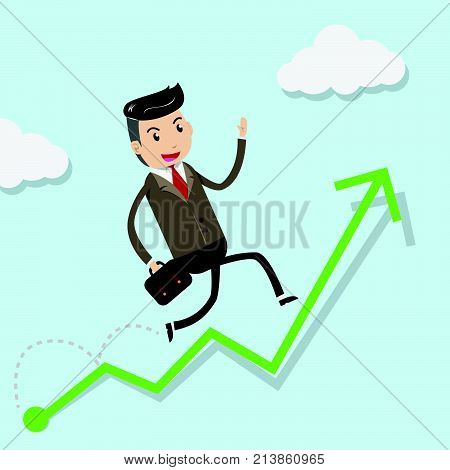 Financial growth success concept with happy businessman climbing up on green graph as step stair start from beginning to success. Business concept for growth success process. vector illustration EPS10
