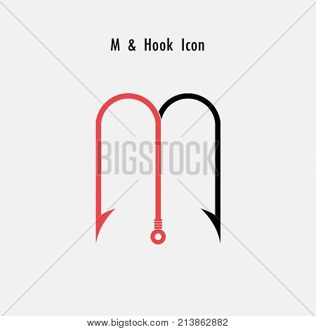 Creative M- Letter icon abstract and hook icon design vector template.Fishing hook icon.Alphabet icon.Vector illustration