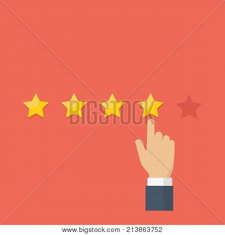 Pointing hand and rating star, customer review, rating, user feedback concept