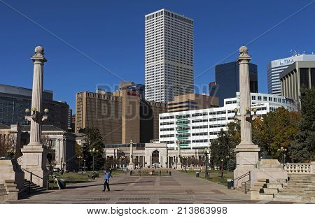 DENVER,COLORADO,AMERICA- OCTOBER 25,2017:View from the city park on downtown Denver and blue sky on a clear sunny day.