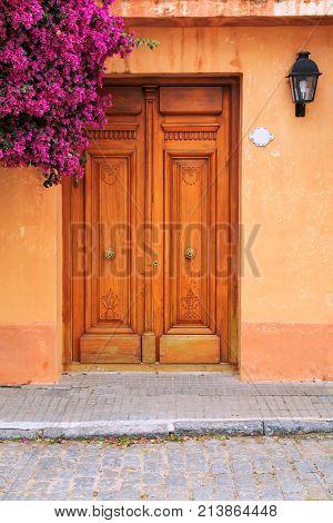 Wooden Door Of A House In Historic Quarter Of Colonia Del Sacramento, Uruguay