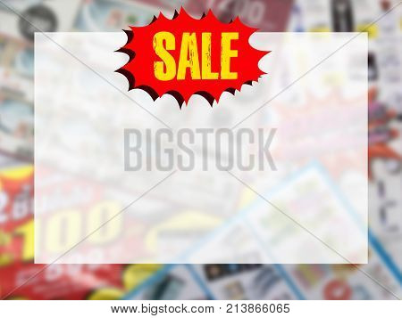 word SALE on red speech bubble with copy space for text over blurred catalogue background. Online shopping and promotion concept.