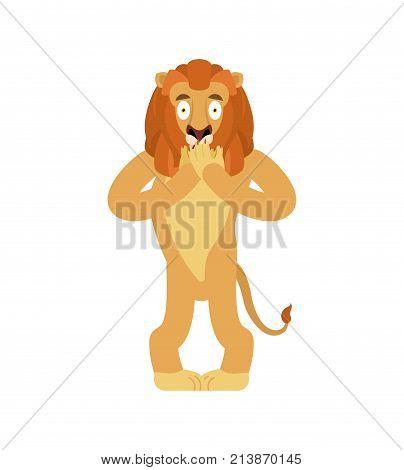 Lion Scared Omg. Wild Animal Oh My God Emoji. Frightened Beast. Vector Illustration