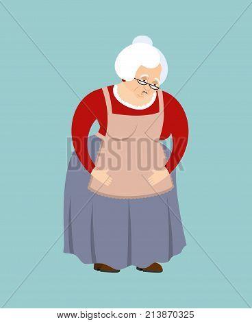 Grandmother Sad Emoji. Face Grandma Sorrowful Isolated. Old Lady Vector Illustration