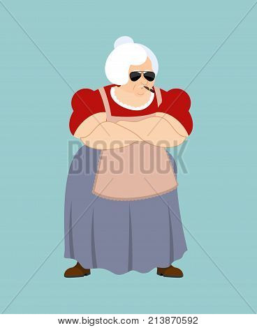Grandmother Strong Cool Serious. Grandma Smoking Cigar Emoji. Old Lady Strict. Vector Illustration
