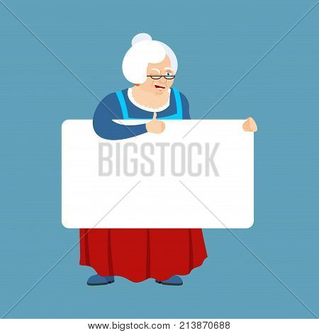 Grandmother Holding Banner Blank. Grandma And White Blank. Old Lady Thumb Up And Winks Joyful Emotio