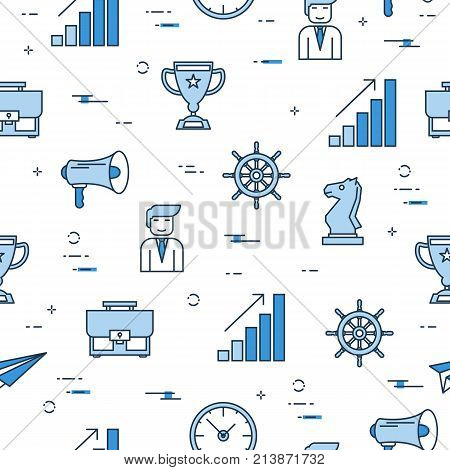Vector Seamless Pattern with Business Management concept . Businessman, case, megaphone, clock and growth chart blue icons on white background