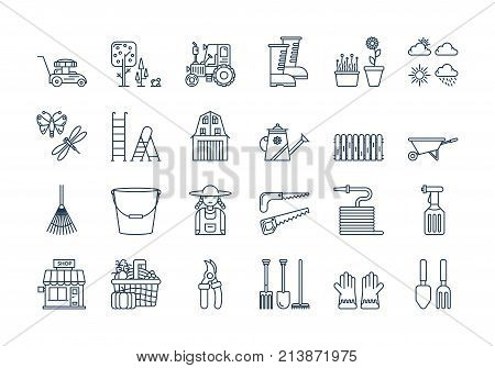 Vector set of 24 linear outline icons. Gardening harvesting isolated pictogram. Lawnmower, bucket,shovel, wheelbarrow and woman in working clothes, tractor