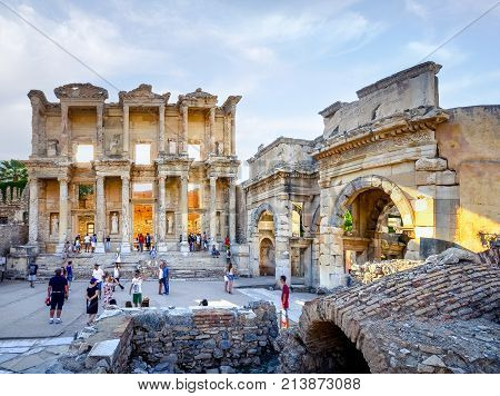 ISTANBUL, TURKEY - AUGUST 12, 2015:  The ruins of the ancient city of Ephesus with theater and the famous Celsus library, Turkey