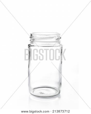 clear glass jar without lid on white isolate background good for food or storage concept