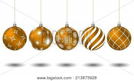 Orange Christmas Balls With Different Patterns