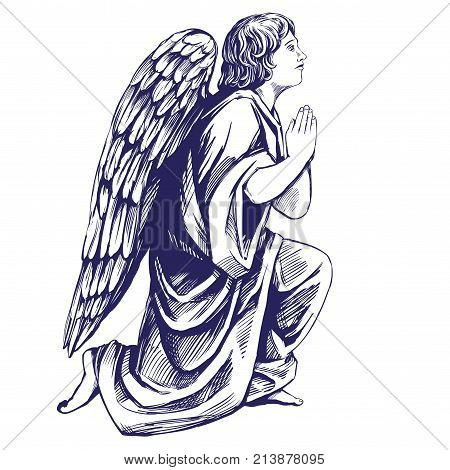 angel prays on his knees religious symbol of Christianity hand drawn vector illustration sketch.